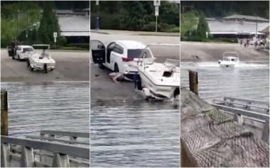 Канадец спуская лодку на воду умудрился одновременно утопить и лодку, и автомобиль (ВИДЕО)
