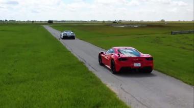 1000-сильный Corvette ZR1 сравнили в заезде с Ferrari 488 GTB (ВИДЕО)