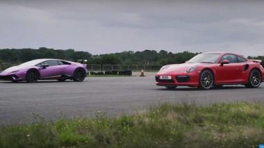 Новый Porsche 911 Turbo S сразился на прямой с Lamborghini Huracan Performante (ВИДЕО)