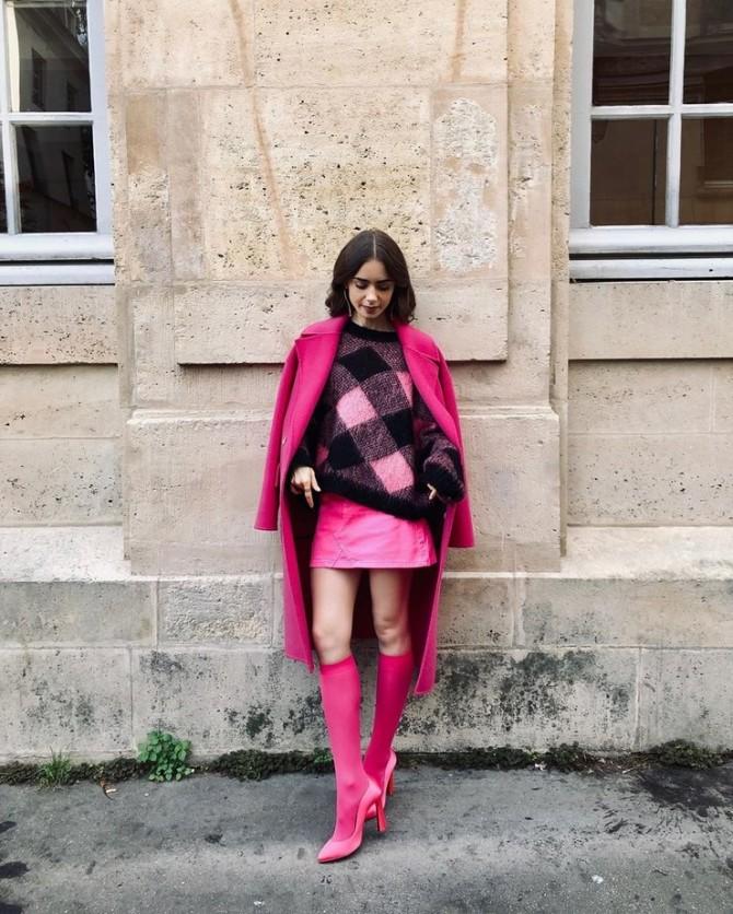 Лили Коллинз показала, как носить розовый в холода (ФОТО)