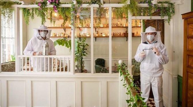 Персонал лондонского бара для защиты от коронавируса одевается, как пчеловоды (ФОТО)