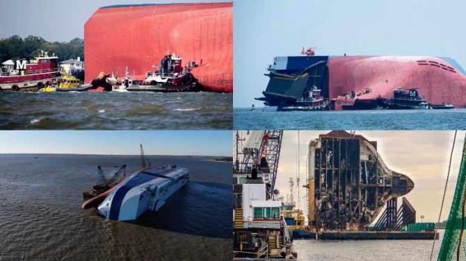 Автомобили Hyundai и Kia вместе с судном распили гигантской пилой
