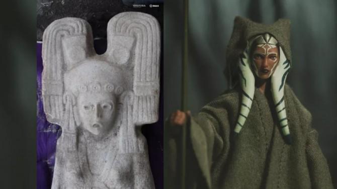 В Мехико нашли древнюю статую женщины в головном уборе из «Звездных войн»