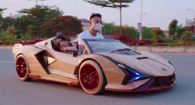 В сети показали деревянный Lamborghini Sian ручной работы для катания детей (ВИДЕО)